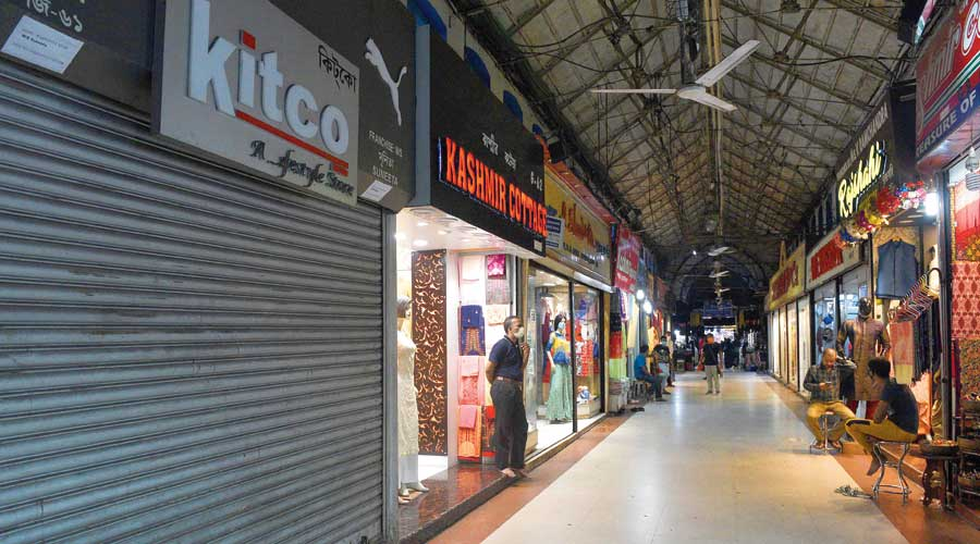 Some of the shops at New Market that had opened on Saturday. `