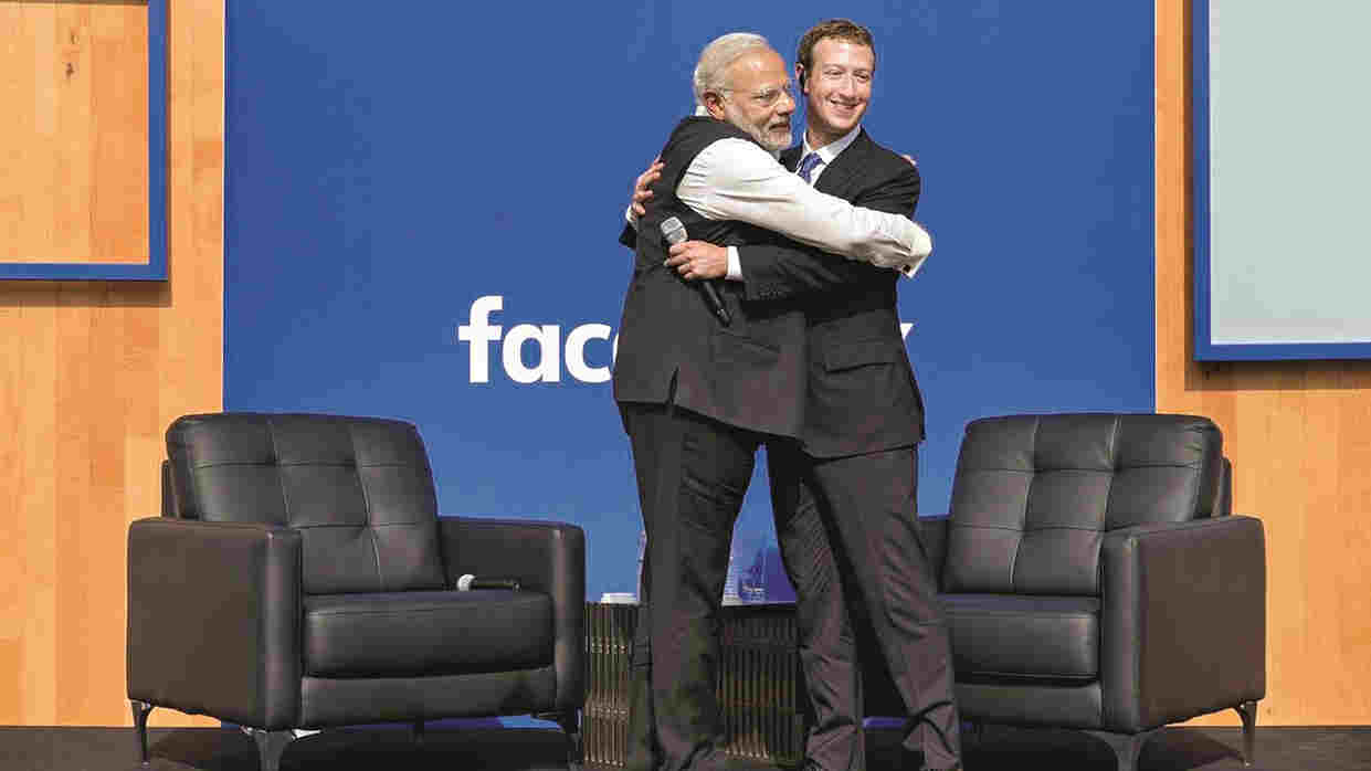 Narendra Modi with Mark Zuckerberg