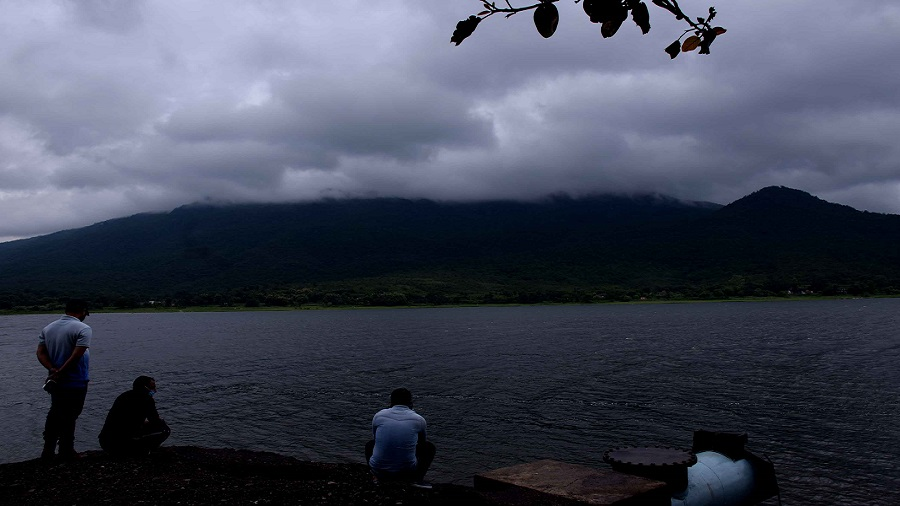 Cloud cover over Dimna Lake in Jamshedpur with Dalma hills in the background on Monday