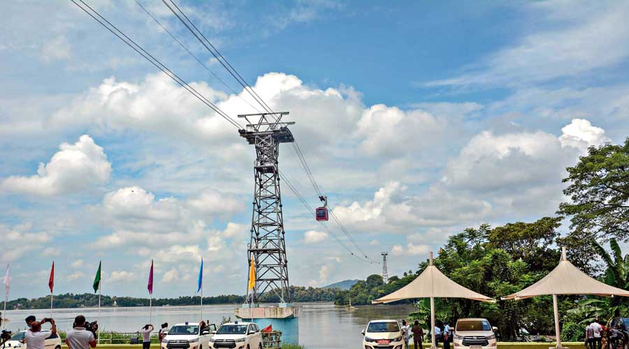 The river ropeway after its inauguration in Guwahati on Monday.