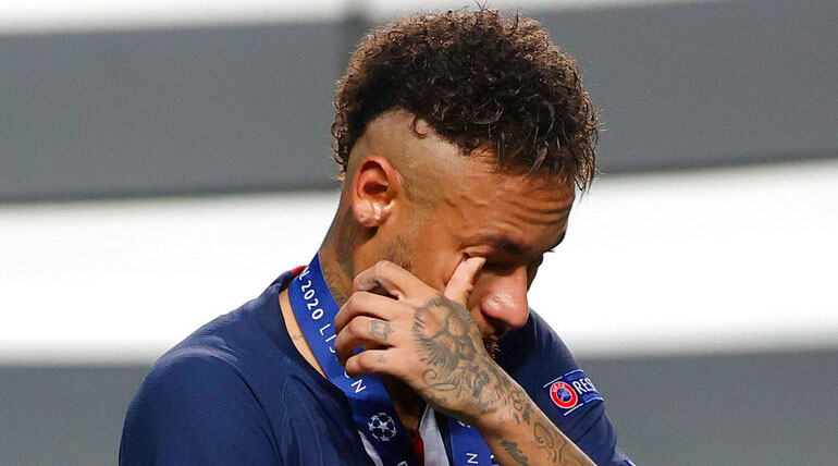 Neymar leaves after his team lost the Champions League final soccer match between Paris Saint-Germain and Bayern Munich in Lisbon on Sunday.