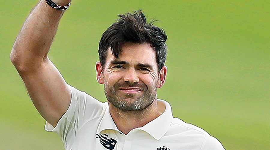James Anderson holds up the ball to celebrate his 600th Test wicket, in Southampton  on Tuesday.