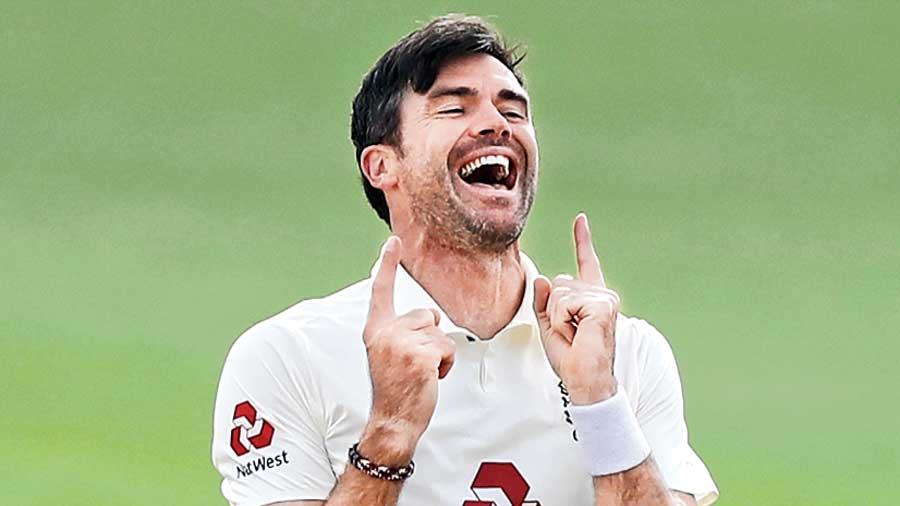 James Anderson celebrates after taking his 600th Test wicket on Tuesday.