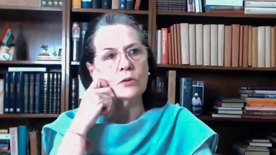 Sonia Gandhi chairs the virtual meeting