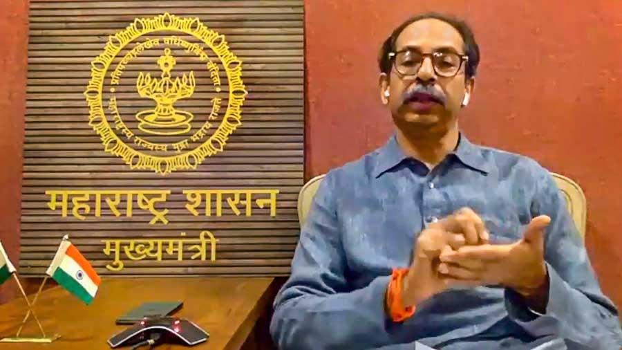 Maharashtra chief minister Uddhav Thackeray speaks during the virtual meeting
