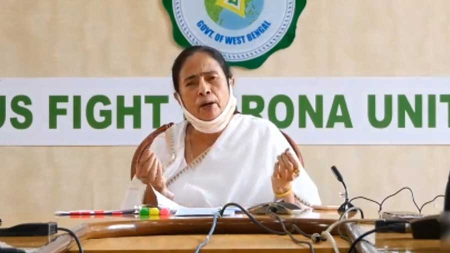 Bengal chief minister Mamata Banerjee speaks during the virtual meeting