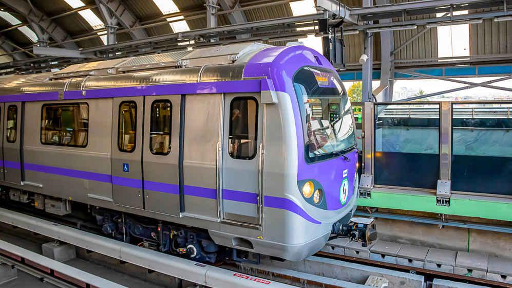Metro train arriving in the platform of Kolkata East West Metro system in Kolkata on 18th January 2020.