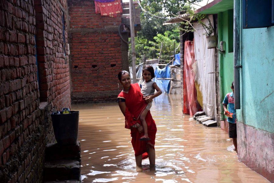 Flooded Bagbera in Jamshedpur on Thursday
