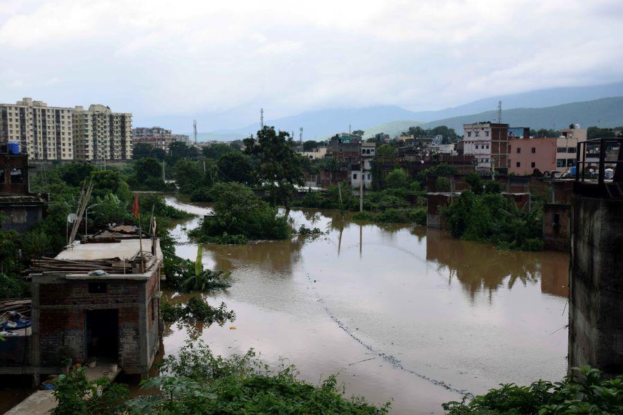 The flooded Sankosai locality of Mango, Jamshedpur, on Thursday