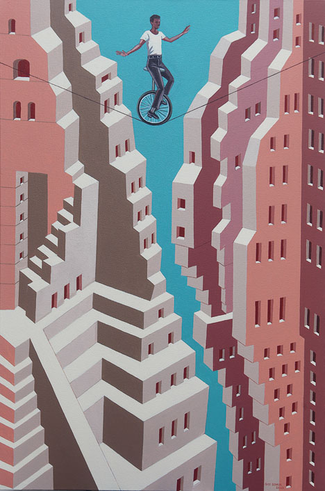 Stumble 2020 (acrylic on canvas) shows Gigi Scaria returning to his familiar visual language of exploring architectural structures and spaces, albeit with a dose of  stagnation suitable for our times built into it.