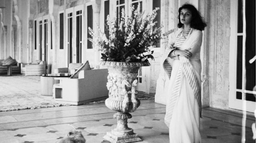 Gayatri Devi, described in Vogue as one of the most beautiful women in the world, at the Rambagh Palace.
