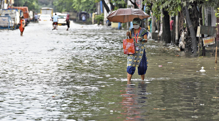 Bidhan Sarani: The latest forecast on Tuesday evening warned of heavy rain in the city after midnight by when the system was expected to pass over Calcutta's outskirts.