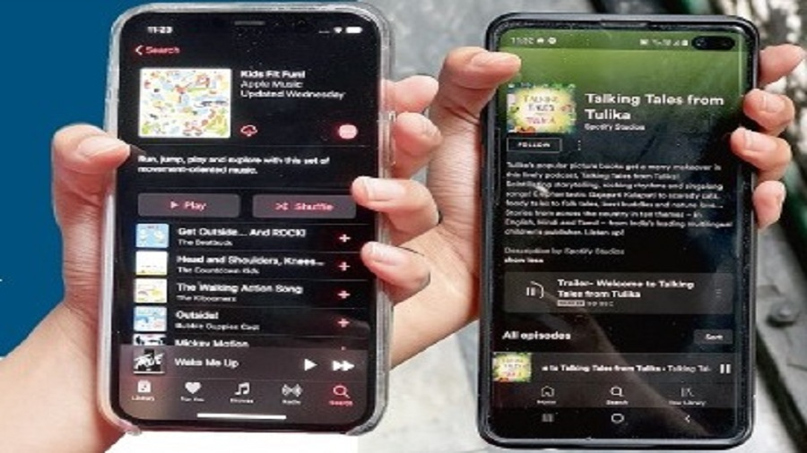 Apple Music (left) and Spotify have special offerings for children.