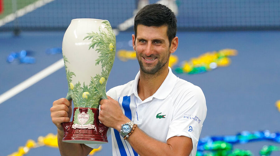 Novak Djokovic after winning against Milos Raonic at the Western & Southern Open on Saturday.