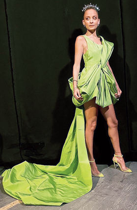 "6. Nicole Richie ensured that the drama on the red carpet was intact as she opted for a green ruched short dress with a long trail. We loved her studded green heels and the spikey headband. ""Representing all the greens tonight"" Nicole cheekily captioned her Instagram picture along with veggies emojis."