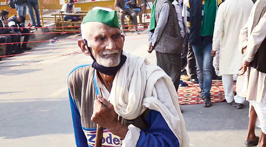 """A farmer at the Ghazipur border on Monday during the """"Delhi Chalo"""" protest march."""