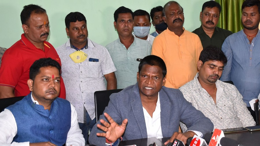 Bahghmara, MLA, Dhullu Mahato (in grey coat) during the press meet at Circuit House in Dhanbad on Tuesday