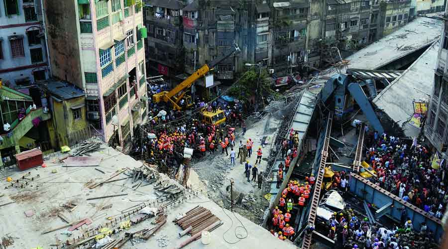 Rows of steel rods have been lying dumped on a portion of the 2km-long flyover, adding to the weight on the deck slabs