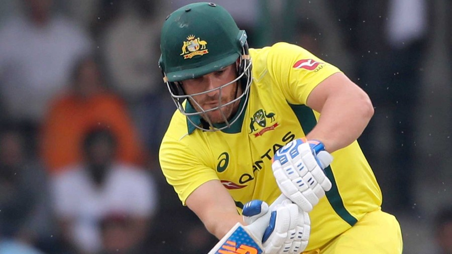 Aaron Finch plays a shot during the final ODI match between India and Australia in New Delhi, India, on March 13, 2019.AP