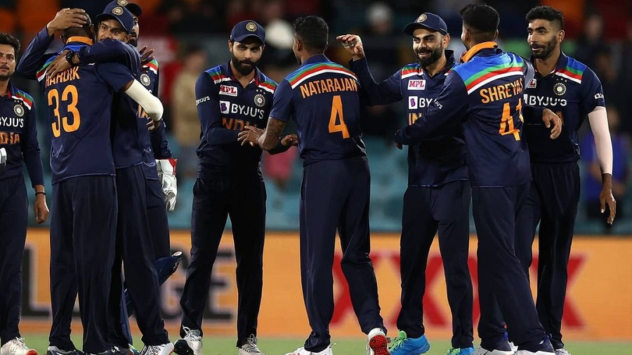 Indian players celebrate after their win against Australia on Wednesday.