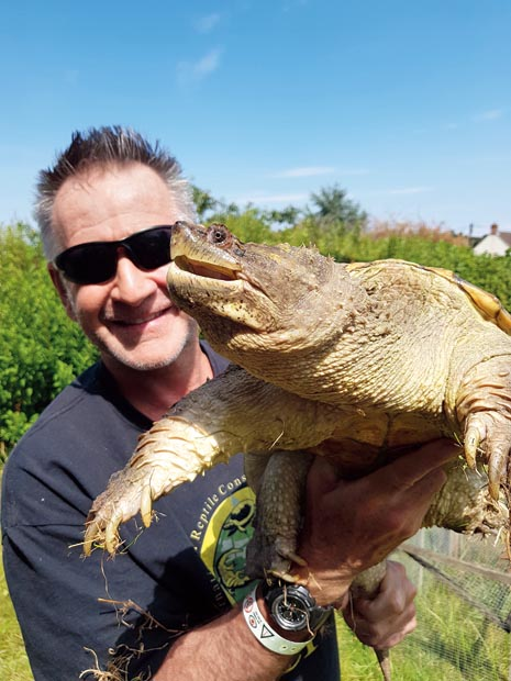 Nigel Marven with Sid, his snapping turtle