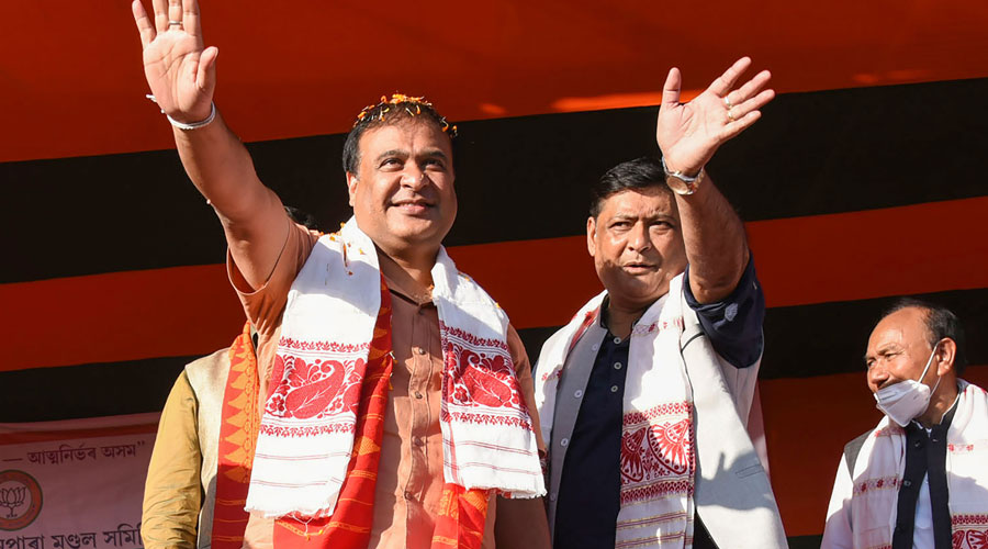 BJP leader and NEDA Convenor Himanta Biswa Sarma waves at crowd during an election campaign rally ahead of Bodoland Territorial Regions (BTR) polls, at Bagan Para in Baksa district of Assam on Saturday, November 28, 2020.
