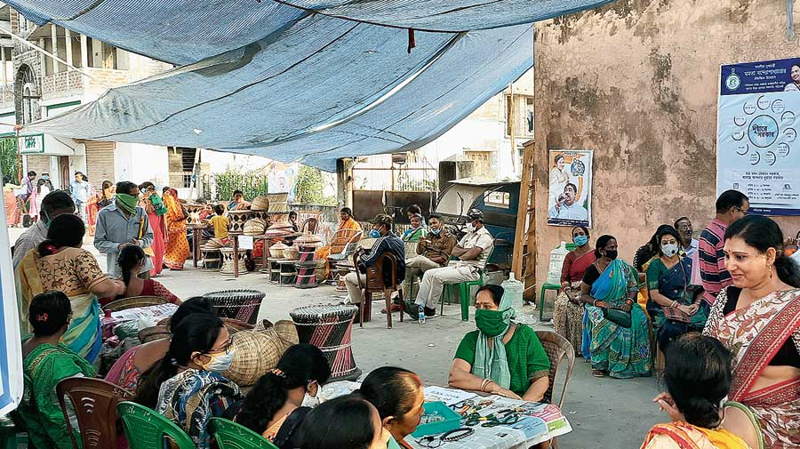 Stalls set up by self-help groups at a Duare Sarkar camp in Bolpur on Wednesday.