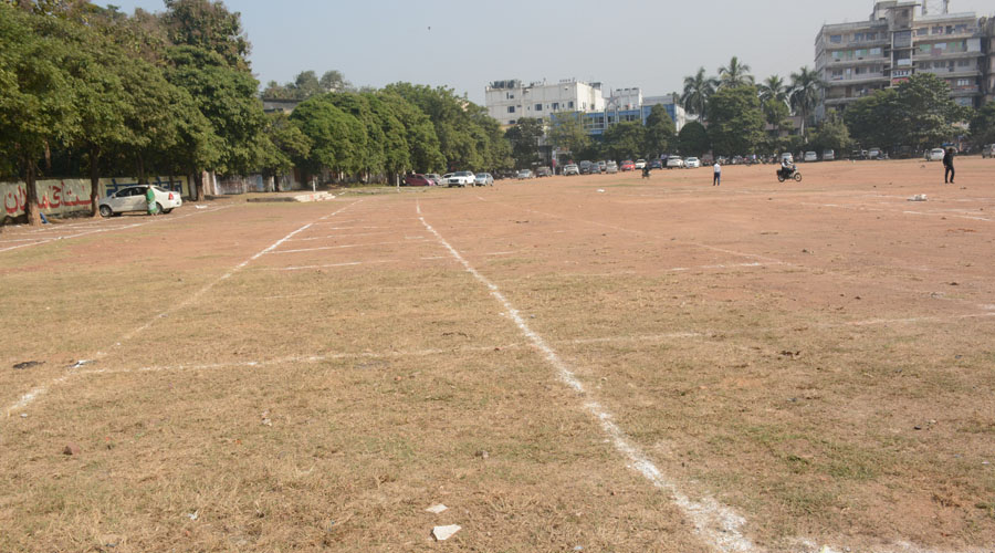 Markings made for vendors to be relocated at Ambagan Ground in Sakchi in Jamshedpur on Thursday.