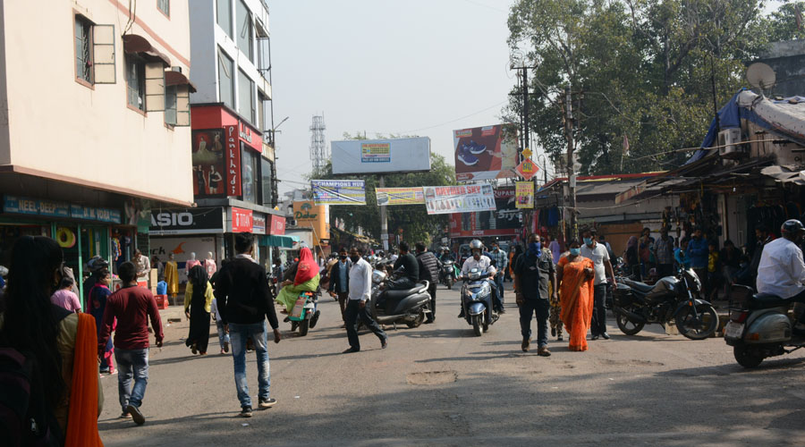 Sakchi market, which was freed of footpath vendors, in Jamshedpur on Thursday.