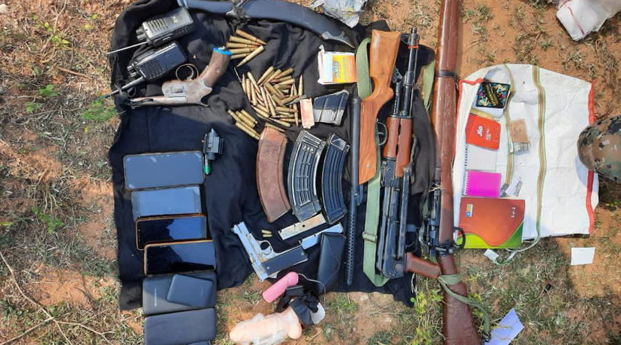 Some of the items recovered from the hideout of  Jharkhand Jan Mukti Parishad rebels in Palamau on Thursday.