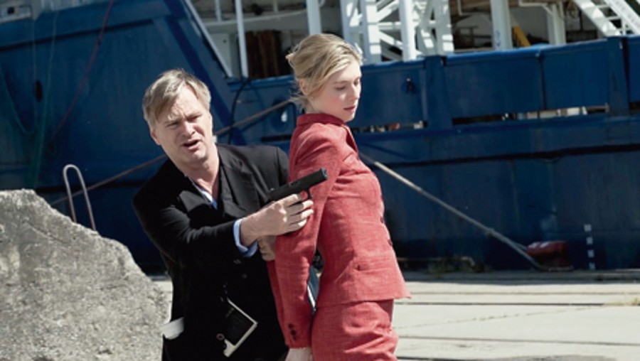 Elizabeth Debicki with Christopher Nolan on the sets of Tenet
