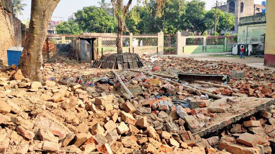 Debris on the campus of the primary school at Kalitala in Malda on Thursday.