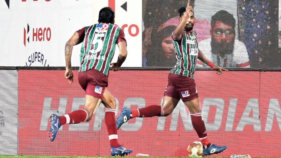 Roy Krishna (right) celebrates with Sandesh Jhingan after scoring ATK Mohun Bagan's winner on Thursday.