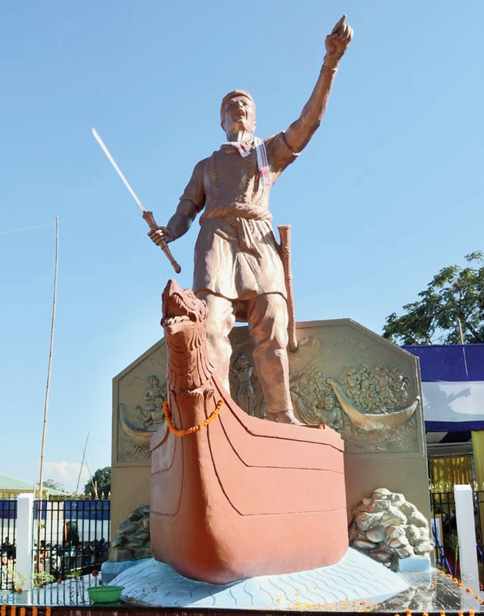 A life size statue of Mahabir Lachit Borphukan at Sepon in Charaideo district unveiled by chief minister Sarbananda Sonowal on Wednesday.