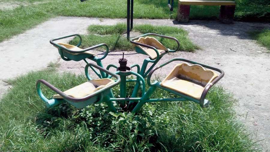 A damaged merry-go-round in AC Park