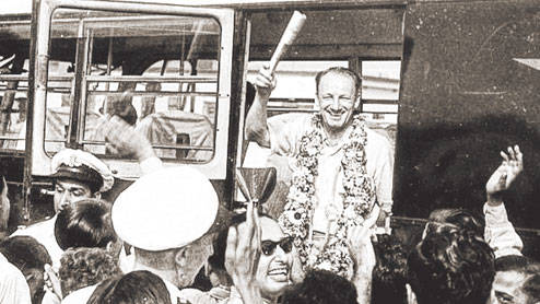 Don Bradman at Dum Dum airport in 1953.