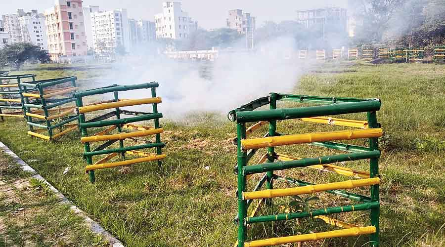 Fire set on a grassland at DF block in Action Area I  of New Town on Wednesday