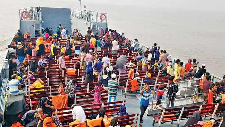 Rohingyas being taken to Bhasan Char island aboard a Bangladeshi naval ship on Friday.