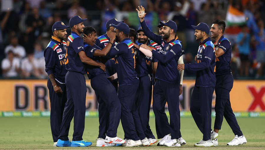 Indian players celebrate after their win against Australia on Friday.