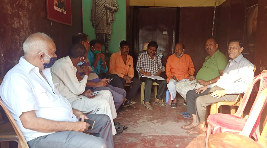 Traders and members of Chamber of Commerce, Jharia holding meeting on holding tax at Jharia in Dhanbad last month.