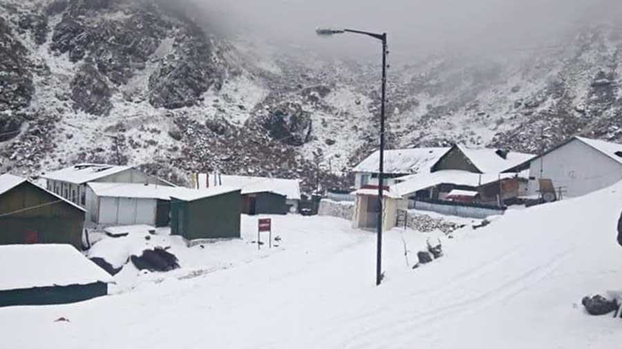 A locality covered by a thick blanket of snow near Tsomgo lake in East Sikkim