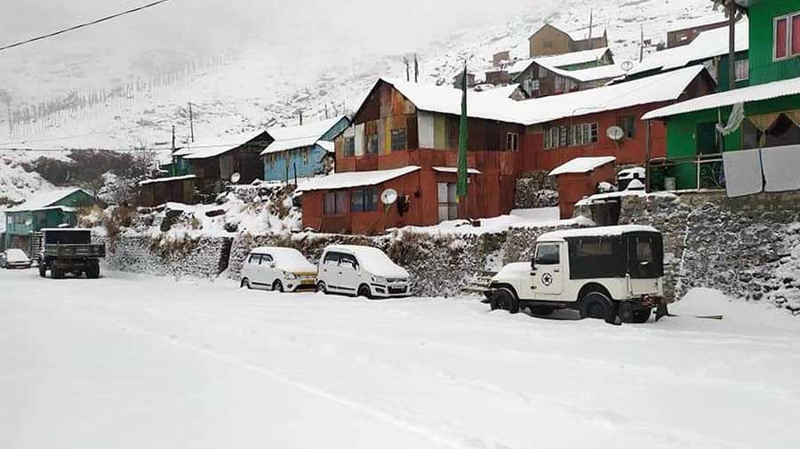 A road enveloped in snow in East Sikkim