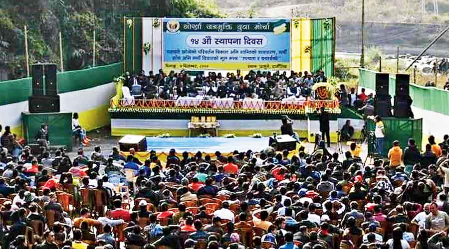 The public meeting of the Binay Tamang faction's youth front in progress at Jamuni in Tukvar, on the outskirts of Darjeeling, on Monday