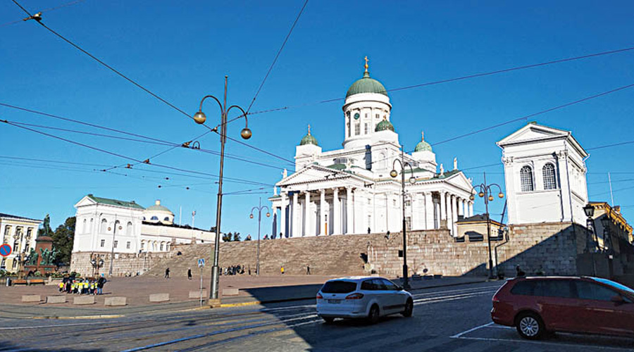 The Helsinki Cathedral is the most prominent buildings in city's historic Senate Square