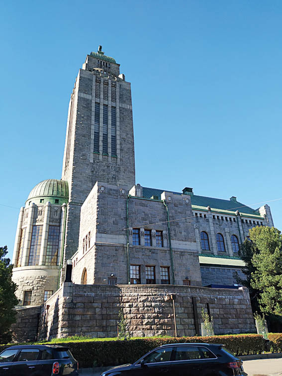 The black granite Kallio Church dominates the skyline in the Kallio district