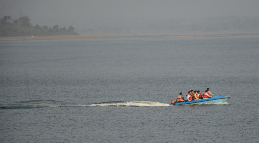 Visitors enjoy a boat ride at the scenic Dimna Lake in Jmshedpur on Sunday afternoon.