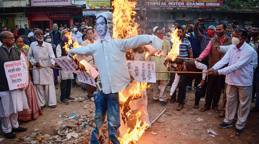 An effigy being burnt in Agartala, Tripura, earlier this month in support of the farmers' agitation against the three farm laws.
