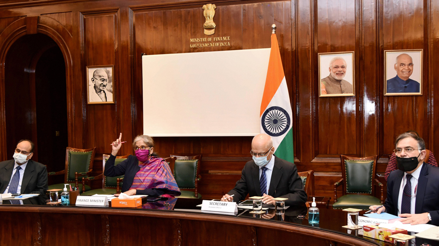 Finance Minister Nirmala Sitharaman during a pre-budget consultation meeting with industrialists, at North Block in New Delhi, Monday, Dec. 14, 2020.