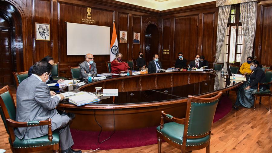 Union Finance Minister Nirmala Sitharaman during FSDC meeting at North Block in New Delhi, Tuesday, Dec. 15, 2020.