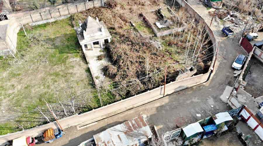Aerial picture of temple released by police.